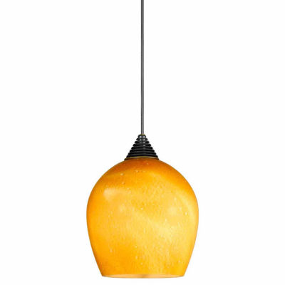 "Wooten Heights 5"" Tall Glass and Metal LED Pendant with Brushed Steel Cord"