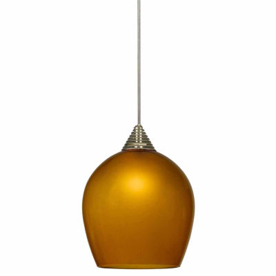 "Wooten Heights 5"" Tall Glass and Metal LED Pendant with Rust Cord"
