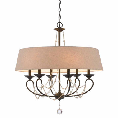 Invogue Lighting 30 Inch Six Light Chandelier in Oil Rubbed Bronze