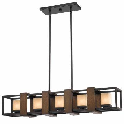 Invogue Lighting 80 Inch Tall Metal and Wood Island Fixture in Dark Bronze Wood Finish