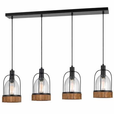 "Invogue Lighting 18"" Inch Tall Island Fixture in Dark Bronze Wood Finish"
