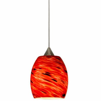 "Wooten Heights 5.13"" Tall Glass and Metal LED Pendant with Rust Cord"