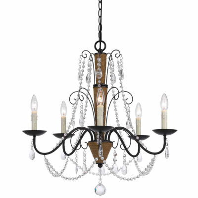 Invogue Lighting 32 Inch Tall Metal and Crystal Chandelier in Rattan Crystal Finish