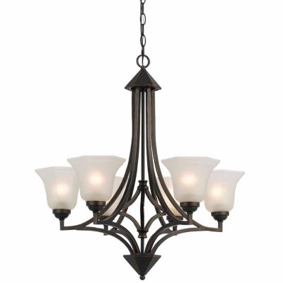 "Invogue Lighting 30.5"" Tall Iron and Glass Pendant in Dark Bronze Finish"