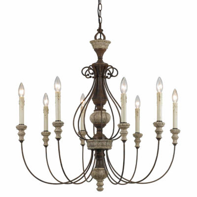 Invogue Lighting 33 Inch Eight Light Chandelier in Dapple Gray Rust