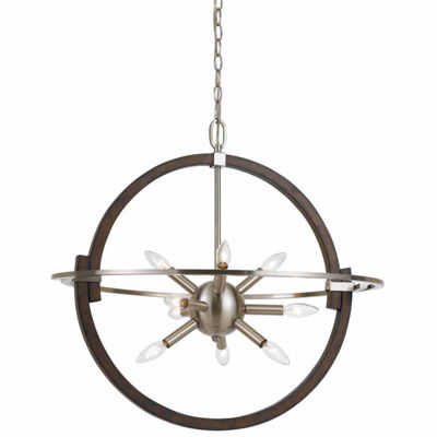 Wooten Heights 26 Inch Tall Steel and Wood Pendant in Brushed Steel Wood Finish