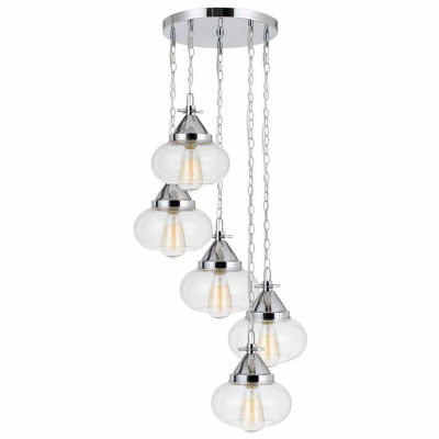 "Wooten Heights 9"" Height Glass Pendant in Chrome Finish"