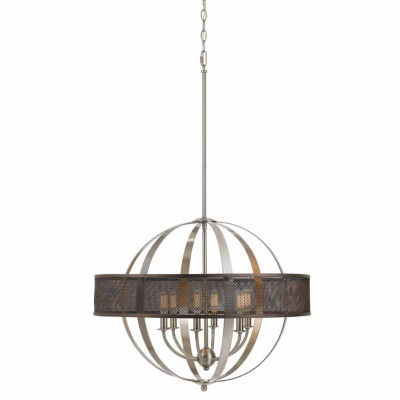 Invogue Lighting 22 Inch Tall Steel Chandelier in Brushed Steel Finish