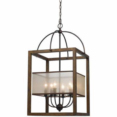 Invogue Lighting 33 Inch Six Light Rectangular Chandelier in Dark Bronze
