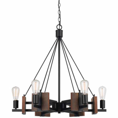 Invogue Lighting 28 Inch Tall Wood Chandelier in Dark Bronze Wood Finish