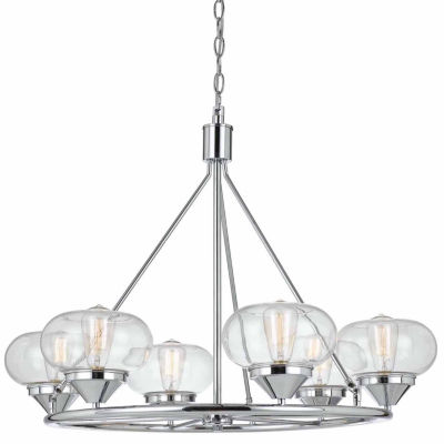 "Invogue Lighting 26"" Height Glass Chandelier in Chrome"
