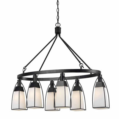 Invogue Lighting 32.75 Inch Metal and Glass Chandelier in Black Finish