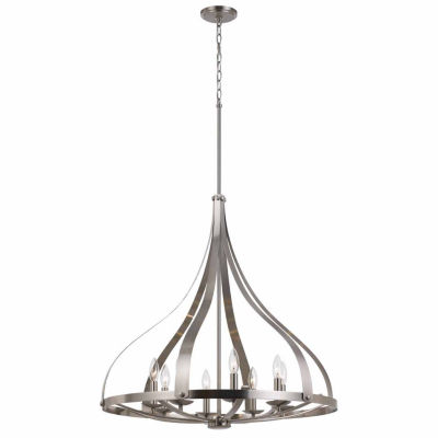 "Invogue Lighting 73"" Inch Metal Chandelier in Brushed Steel Finish"""