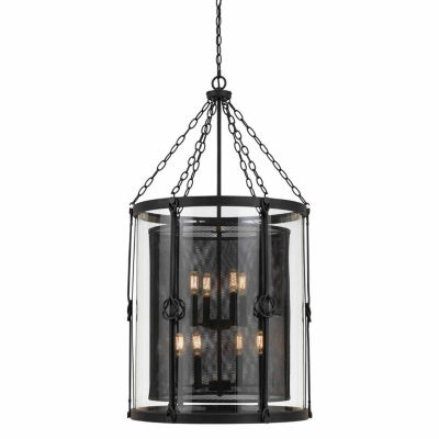 Invogue Lighting 42 Inch Glass and Steel Chandelier in Black Smith Finish
