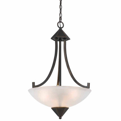 "Wooten Heights 25"" Tall Iron and Glass Pendant in Dark Bronze Finish"