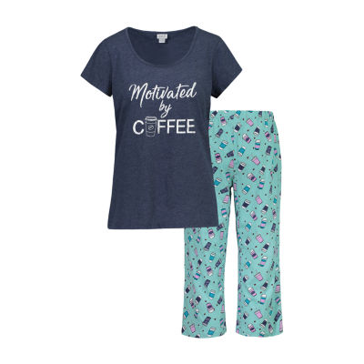 Be Yourself Womens-Juniors Capri Pajama Set 2-pc. Short Sleeve Scoop Neck