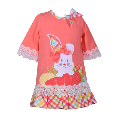 Bonnie Jean Bunny Elbow Sleeve Holiday A-Line Dress - Baby Girls
