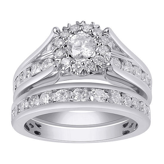 Womens 2 CT. T.W. Genuine White Diamond 14K White Gold Bridal Set