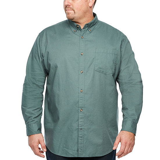 The Foundry Big & Tall Supply Co. Mens Long Sleeve Button-Front Shirt Big and Tall