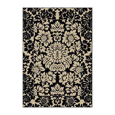 Como Damask Traditional Oriental Area Rug. One Size . Black