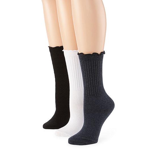 Mixit Lettuce Edge 3 Pair Crew Socks - Womens