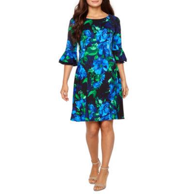 Rabbit Rabbit Rabbit Design 3/4 Sleeve Lace Floral Fit & Flare Dress