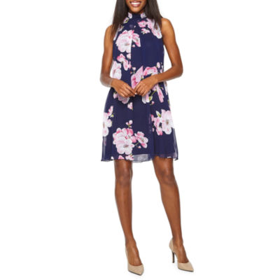 Robbie Bee Sleeveless Floral Puff Print Swing Dresses