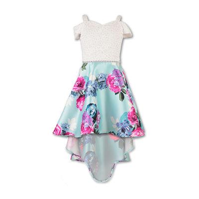 Speechless Embellished Short Sleeve Cold Shoulder Sleeve Floral Maxi Dress - Big Kid Girls