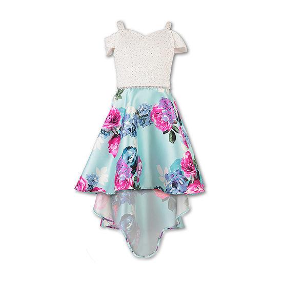 35876ccd0 Speechless Embellished Short Sleeve Cold Shoulder Sleeve Floral Maxi Dress  Girls - JCPenney