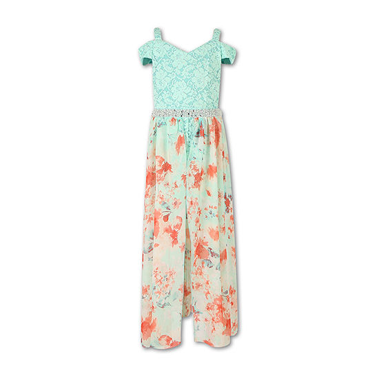 Speechless Embellished Cold Shoulder Walk-Through Maxi Dress - Girls 7-16