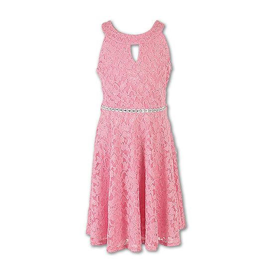 Speechless Embellished Sleeveless Skater Dress - Big Kid Girls