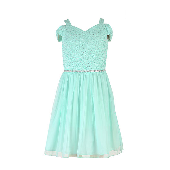 Speechless Embellished Short Sleeve Cold Shoulder Sleeve Party Dress - Big Kid Girls