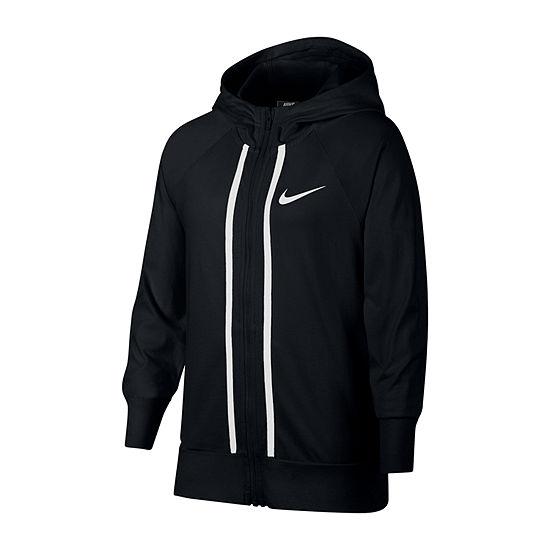 Nike Long Sleeve Full-Zip Jersey Hoodie - Big Kid Girls 7-16