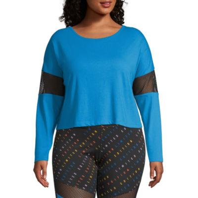 Flirtitude-Womens Round Neck Long Sleeve T-Shirt Juniors Plus