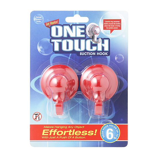 One Touch Hooks Red Bathroom Organizer
