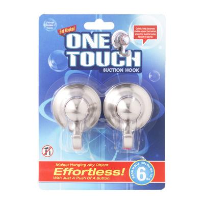 One Touch Hooks Silver Bathroom Organizer