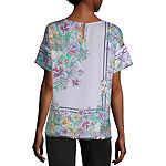 Liz Claiborne Womens Boat Neck Short Sleeve Satin Blouse