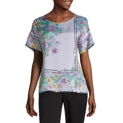 Liz Claiborne Womens Short Sleeve Satin Blouse