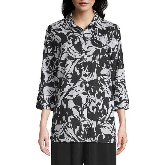 east 5th Womens 3/4 Sleeve Button-Front Shirt