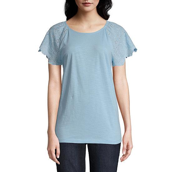 St. John's Bay-Womens Round Neck Short Sleeve T-Shirt