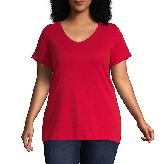 St. John's Bay Short Sleeve V- Neck Tee - Plus