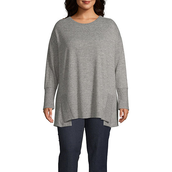Boutique + Long Sleeve Step Hem Tunic - Plus