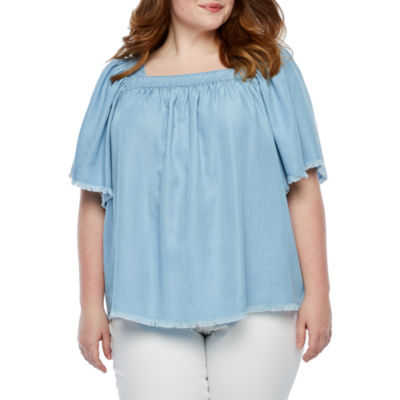 a.n.a Womens Square Neck Short Sleeve Chambray Blouse-Plus