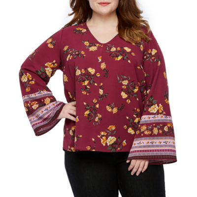 a.n.a Womens V Neck Long Sleeve Floral Blouse-Plus