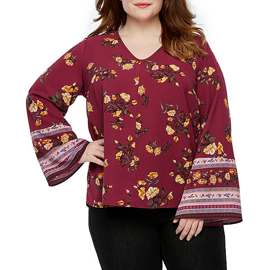 a.n.a-Plus Womens V Neck Long Sleeve Floral Blouse