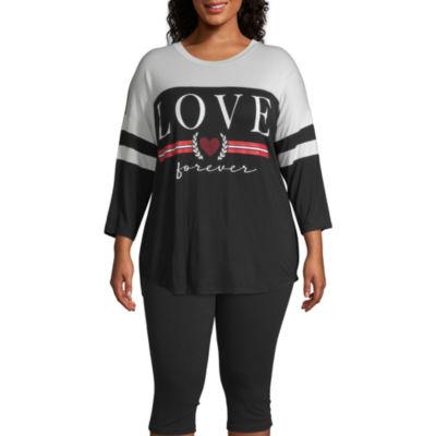 Xersion-Womens Crew Neck Long Sleeve T-Shirt Plus
