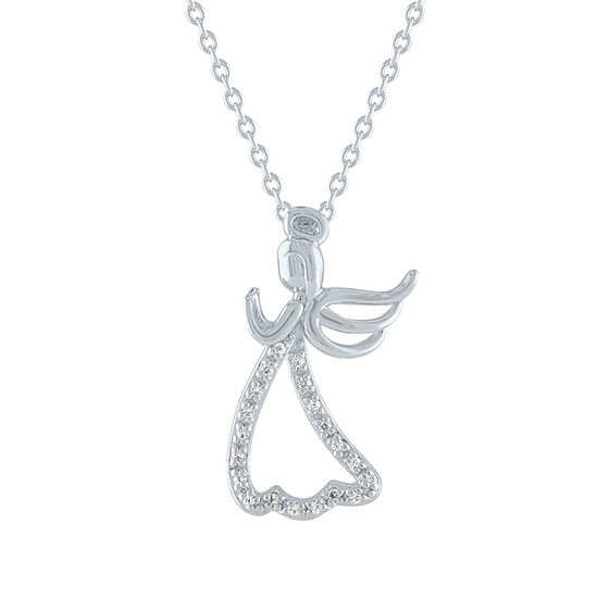 Womens Diamond Accent Genuine White Diamond Angel Pendant Necklace