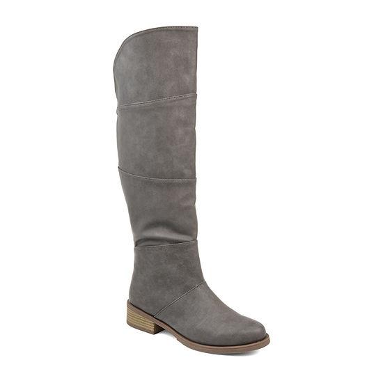 Journee Collection Womens Vanesa Wide Calf Stacked Heel Zip Riding Boots