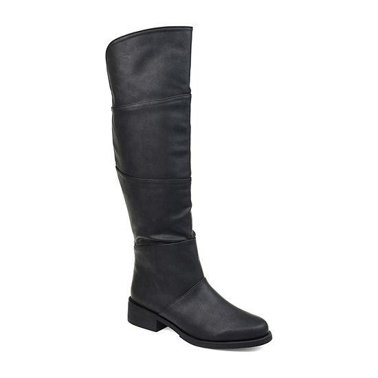 Journee Collection Womens Vanesa-Xwc Stacked Heel Zip Riding Boots