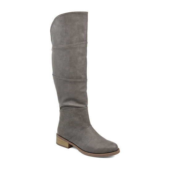 Journee Collection Womens Vanesa Stacked Heel Zip Riding Boots